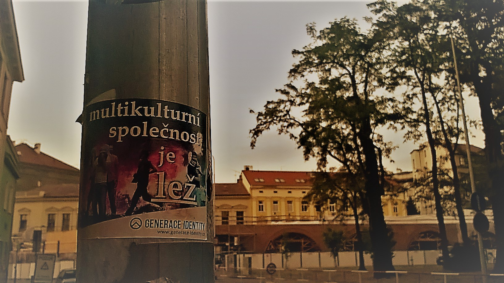 Multicultural society is a fact. Prague. (The sign says multicultural society is a lie.)