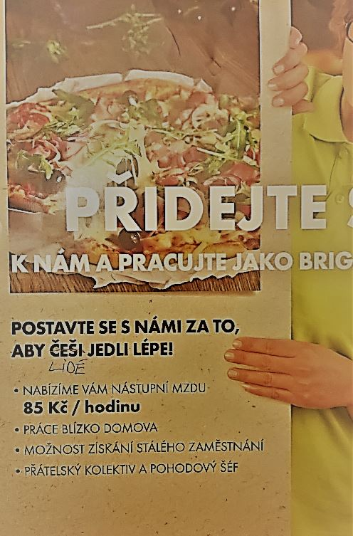 """We live here with you. Best, foreigners."" An inclusive message to a supermarket chain. (The sign says: ""Help us make sure that Czechs eat better."" The author of the photo crossed out the word Czechs and replaced it with people.)"