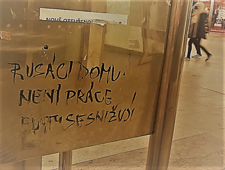 """Looking for someone to blame – """"Iděte damoj"""" 49 years later. Sad and dangerous example of blaming foreigners for the failings of capitalism and elites. Prague, city centre."""