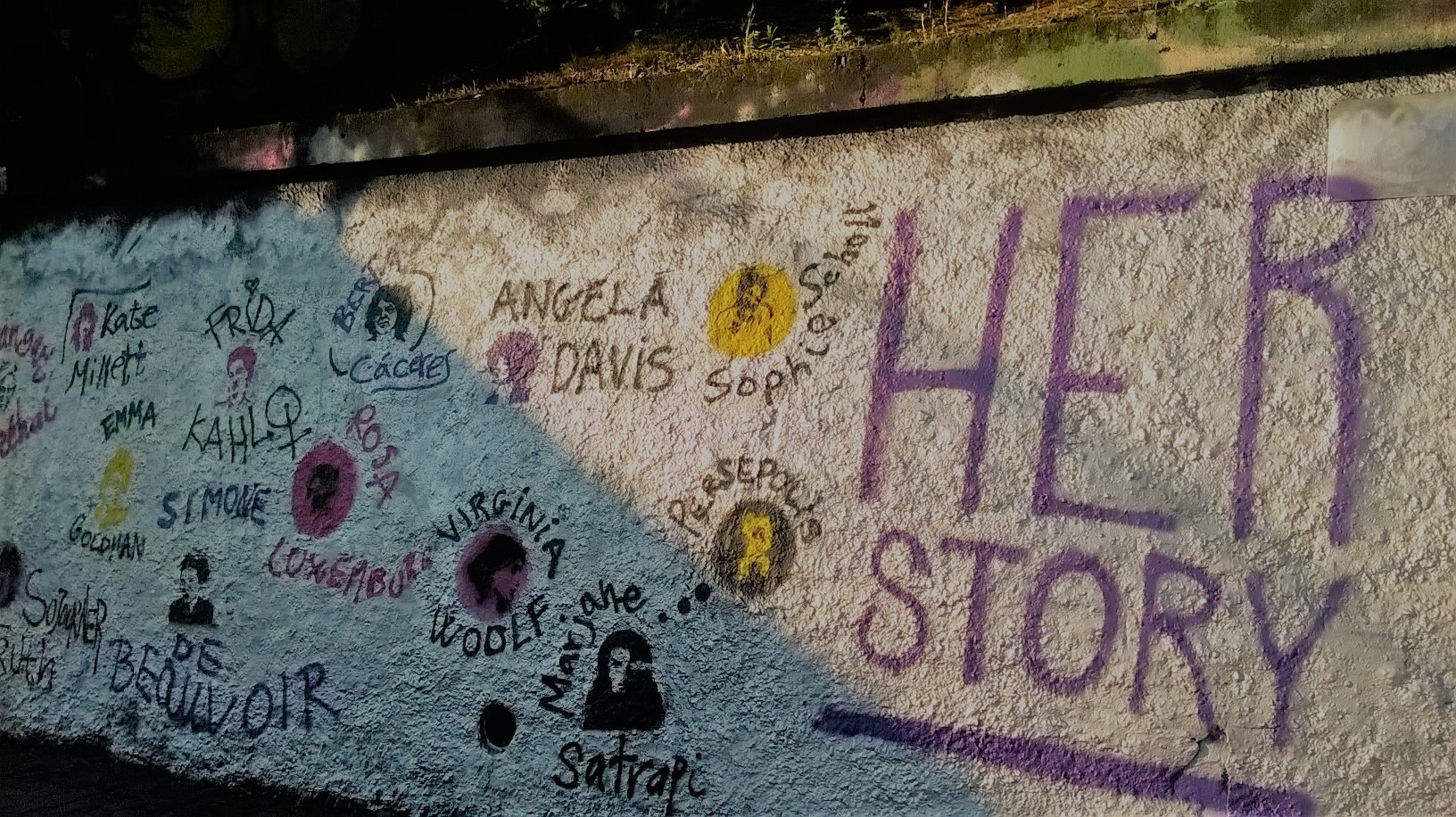 Herstorie - street art displaying inspirational women of different origins. The graffiti was created by a group of women living in Prague that come from different countries. Prague 10.
