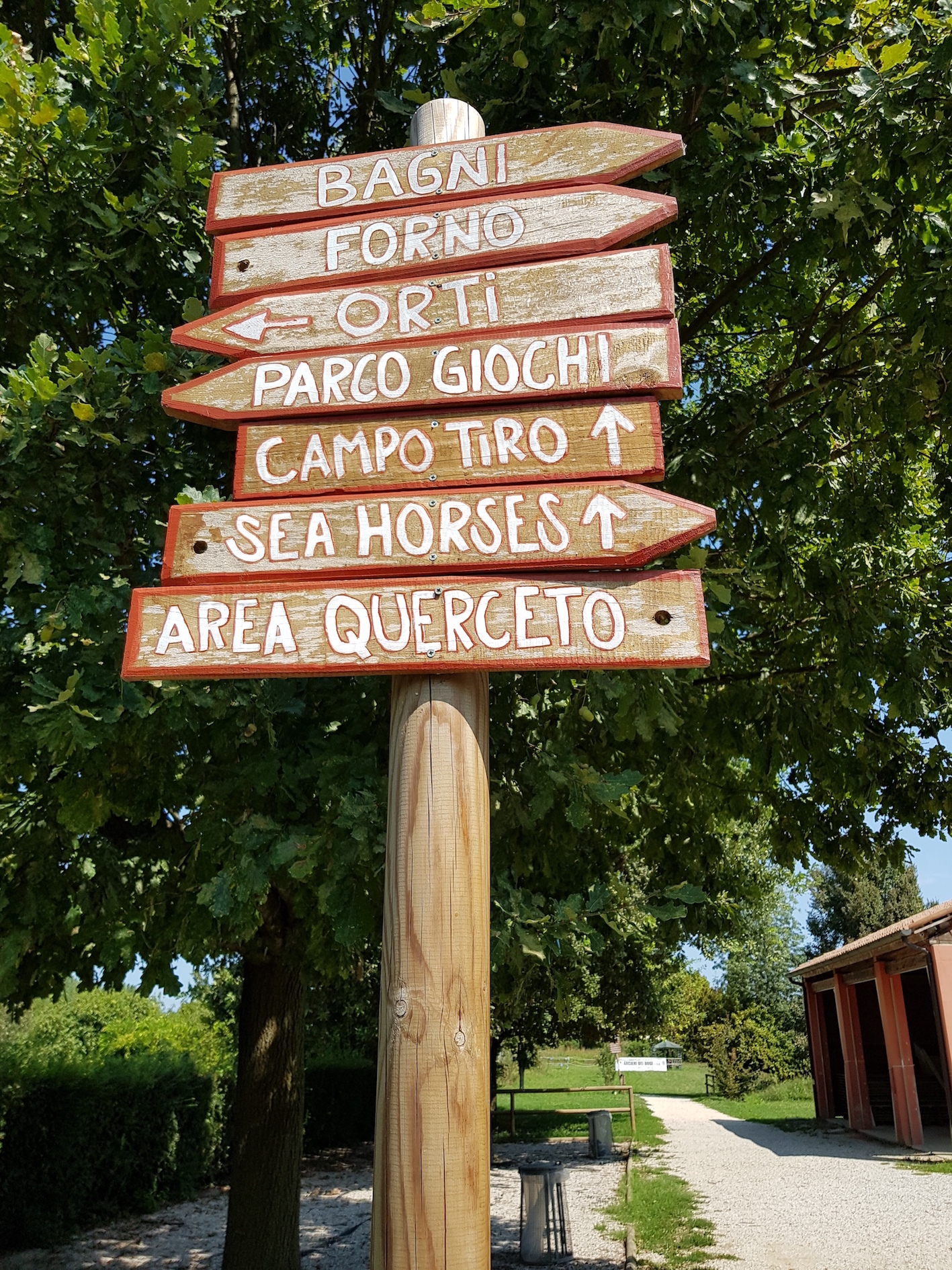 Road sing at the Ethnographic Park of Rubano, where many foreign inhabitants spend time during sunny days. It aims to facilitate the orientation, to reduce the risk of getting lost in the green area, to increase the security and to promote the park as a place of integration. However it is just in Italian.